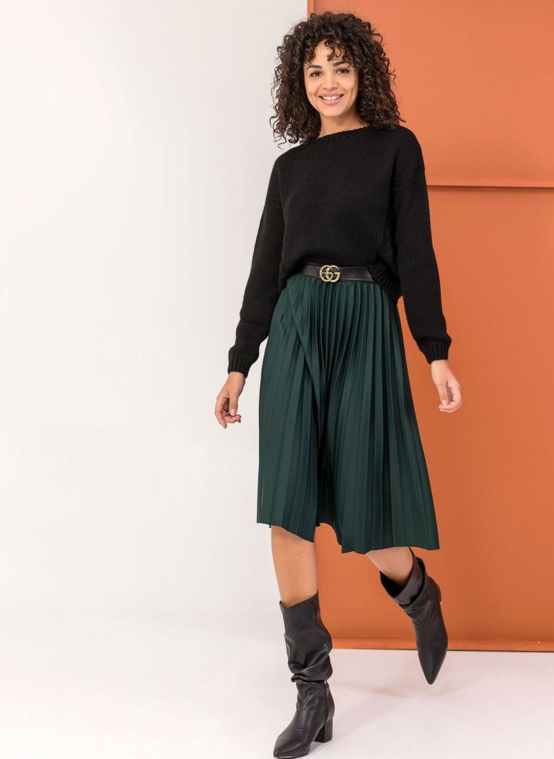 Πλισέ midi φούστα με λάστιχο στη μέση - Κυπαρισσί - TheFashionProject ea79816db5e