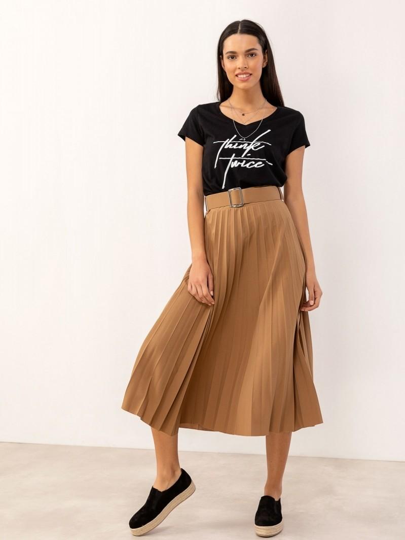 2863608f266 Πλισέ φούστα με ζώνη - Κάμελ - TheFashionProject