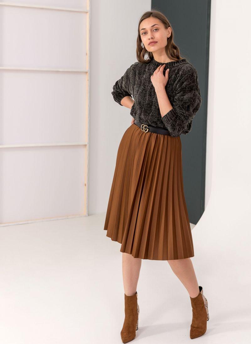 Πλισέ midi φούστα με λάστιχο στη μέση - Ταμπά - TheFashionProject f7efc8c9b7b