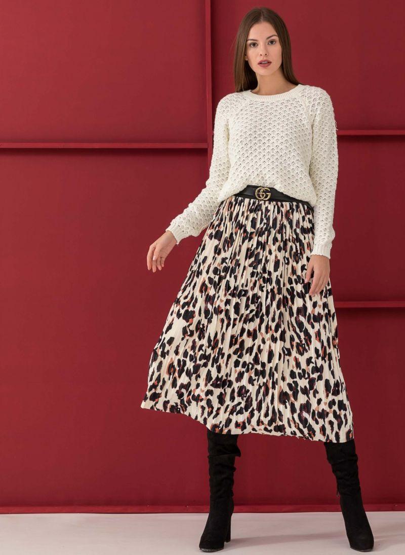 88203693af1 Πλισέ βελουτέ φούστα με pattern - Μαύρο/Μπεζ - TheFashionProject