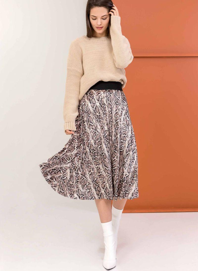 8c1023bada8 Πλισέ βελουτέ φούστα με snakeprint - Μαύρο/Μπεζ - TheFashionProject