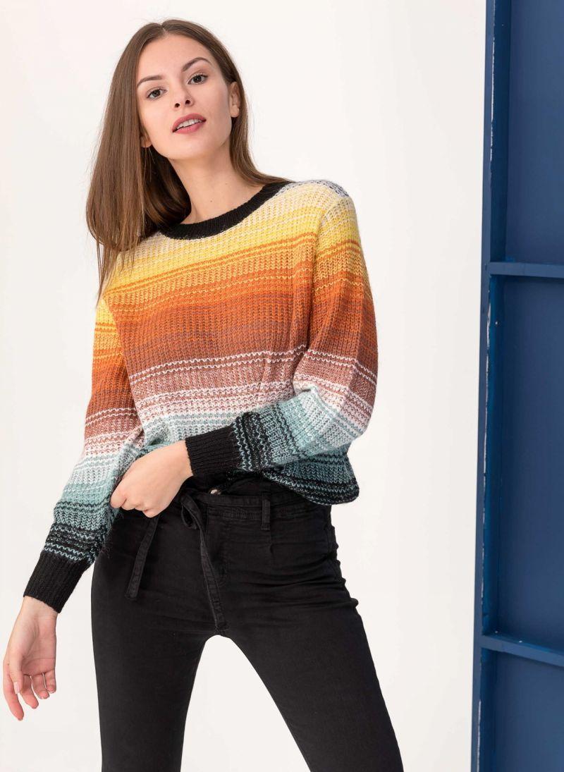 Πολύχρωμο πουλόβερ με αραιή πλέξη - Κίτρινο - TheFashionProject c48bd45429a