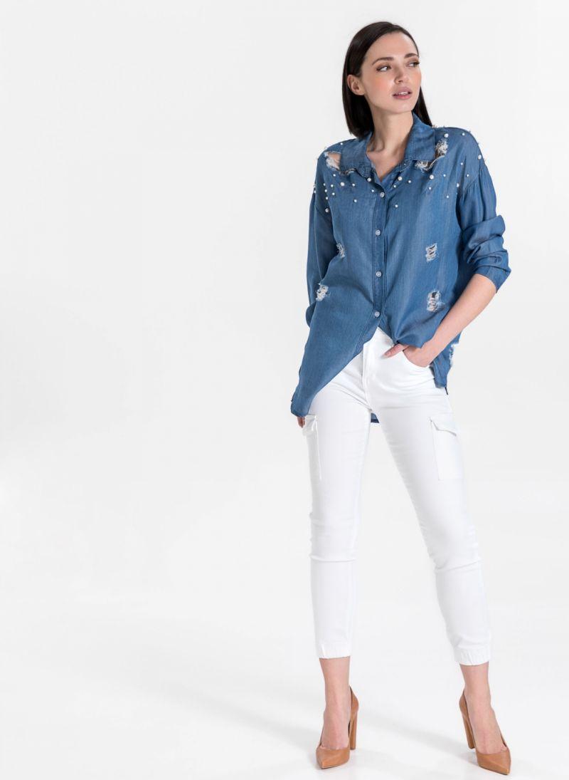 Πουκάμισο με πέρλες - Μπλε jean - TheFashionProject df9d46cc0a3
