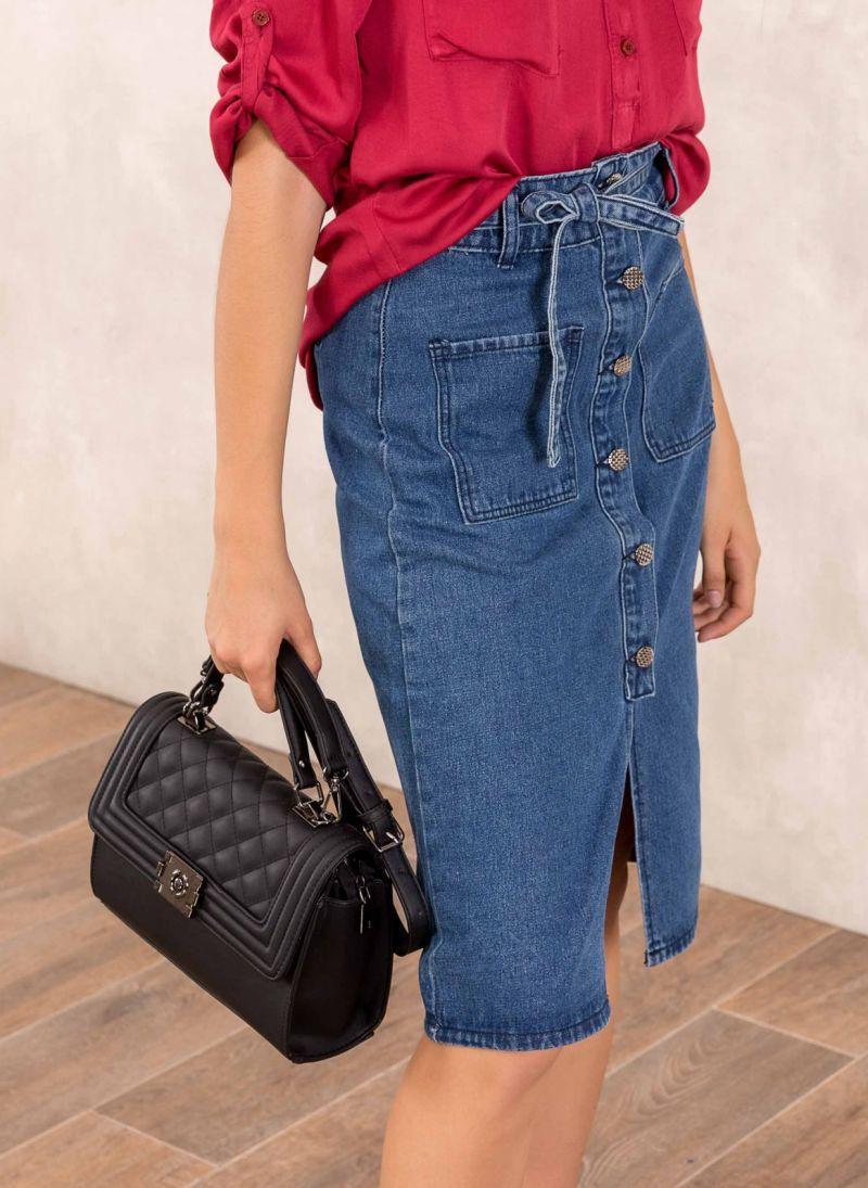 Ψηλόμεση midi jean φούστα με μεταλλικά κουμπιά - Μπλε jean ... c5517681838