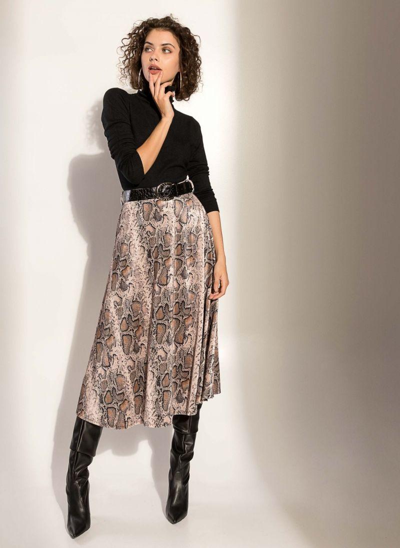 Ψηλόμεση βελουτέ φούστα με σχέδιο φίδι - Πούρο - TheFashionProject 3d2de7a5835