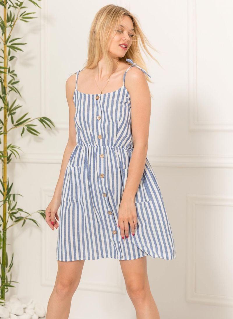 8be2a82183fc Ριγέ φόρεμα με κουμπιά - Μπλε - TheFashionProject