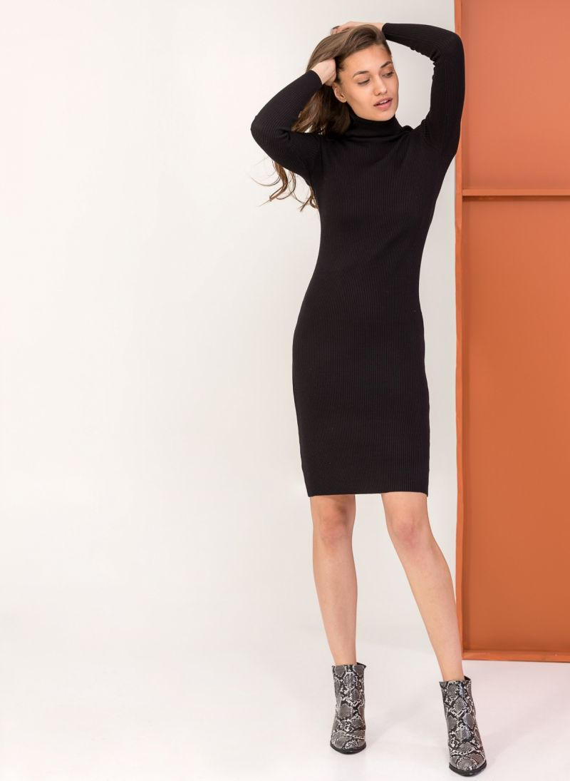 958f9982ea63 Ριπ εφαρμοστό φόρεμα με ζιβάγκο - Μαύρο - TheFashionProject