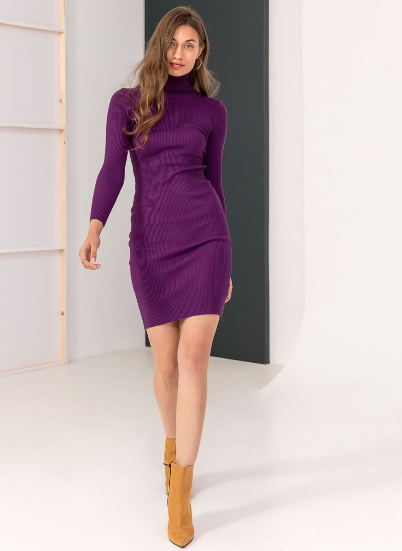 b88d424dc9f0 Ριπ εφαρμοστό φόρεμα με ζιβάγκο - Μωβ - TheFashionProject