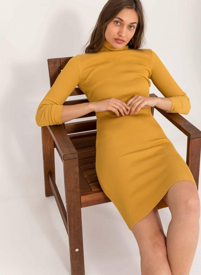 Ριπ εφαρμοστό φόρεμα με ζιβάγκο - Μουσταρδί - TheFashionProject 07cc342054e
