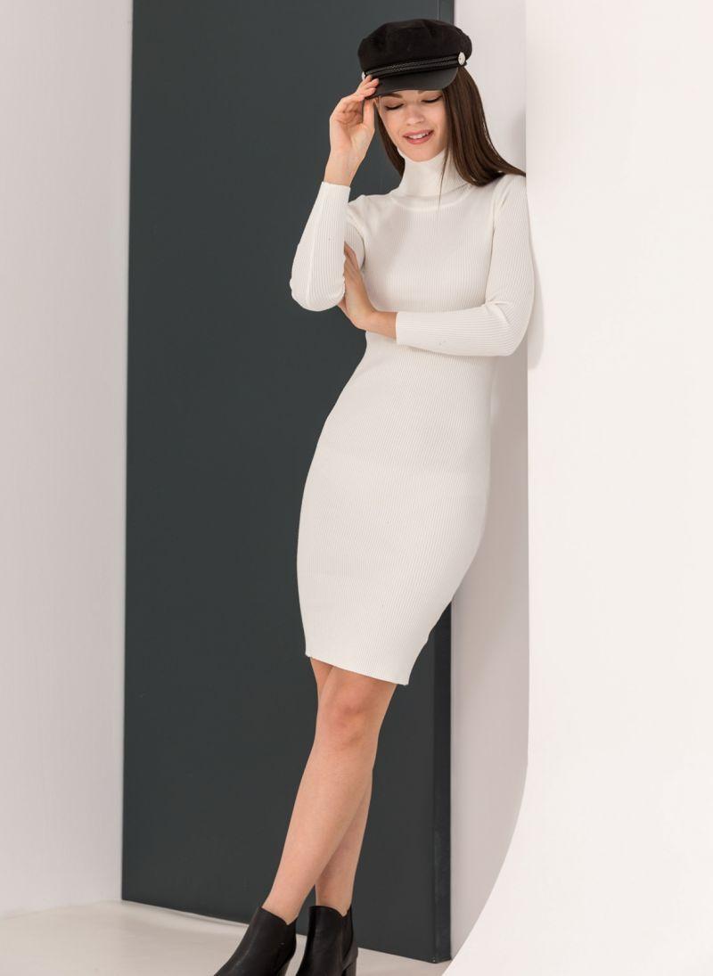98f40fd21ed4 Ριπ εφαρμοστό φόρεμα με ζιβάγκο - Λευκό - TheFashionProject