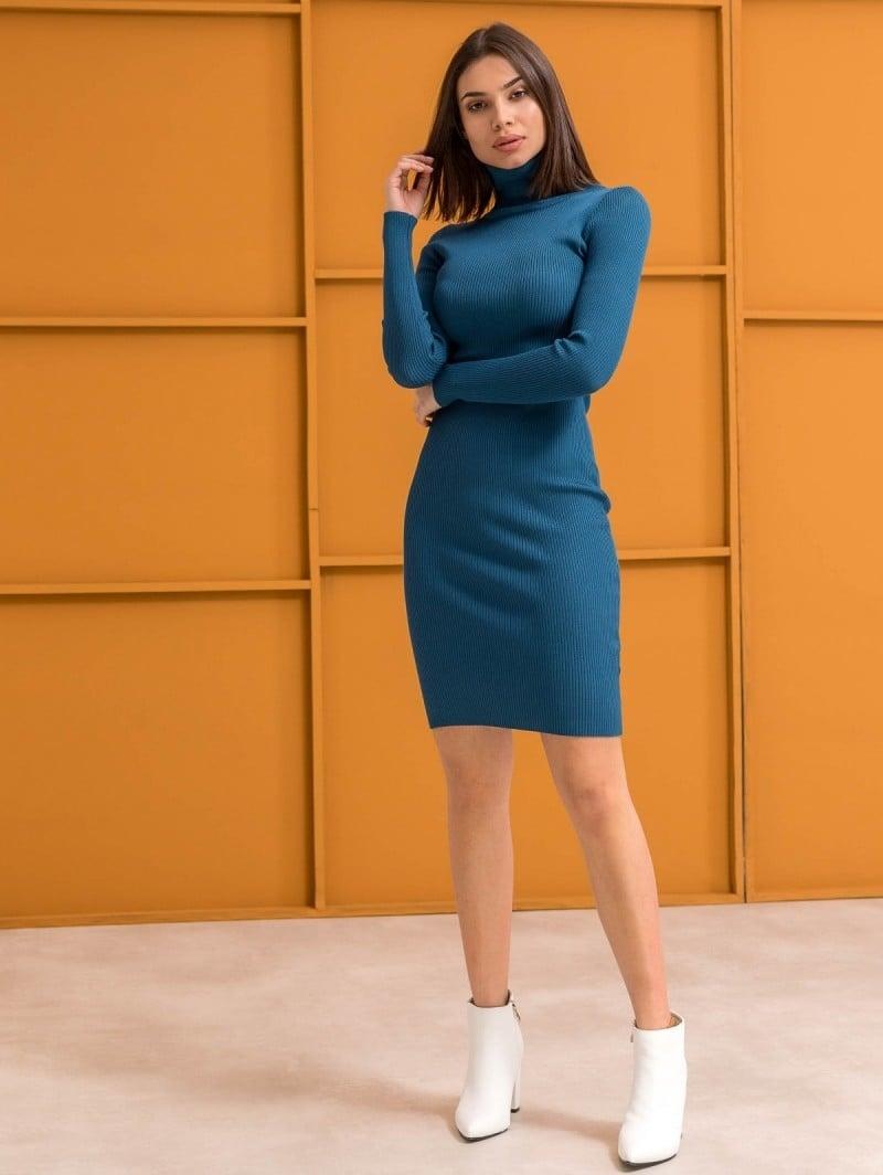 5ddb0d9c3260 Ριπ εφαρμοστό φόρεμα με ζιβάγκο - Petrol - TheFashionProject