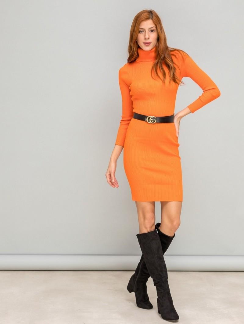 693cc4b61d06 Ριπ εφαρμοστό φόρεμα με ζιβάγκο - Πορτοκαλί - TheFashionProject