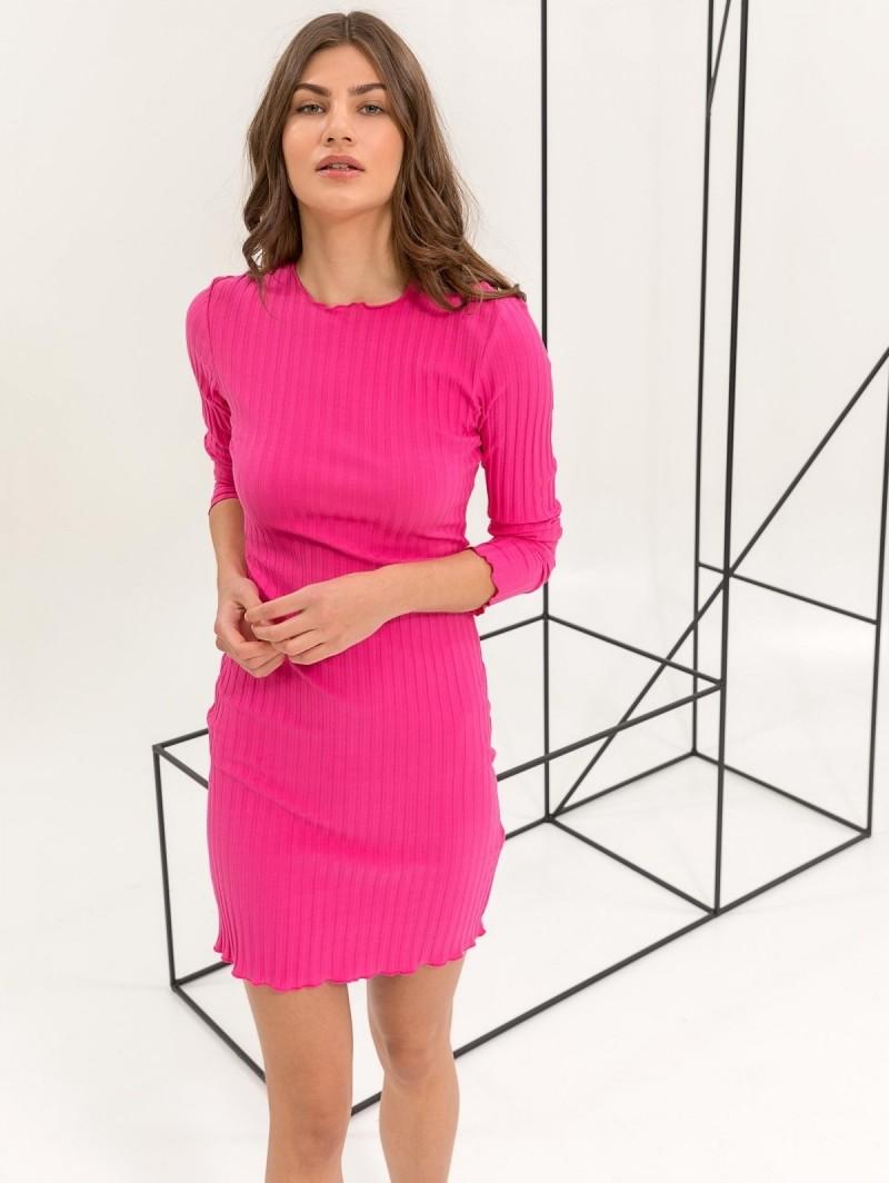 f9f03898180a Ριπ εφαρμοστό midi φόρεμα - Φούξια - TheFashionProject