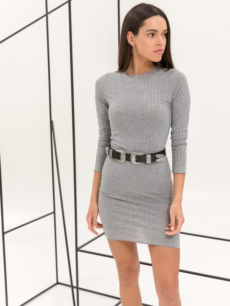 0394961322e2 Ριπ εφαρμοστό midi φόρεμα - Γκρι - TheFashionProject