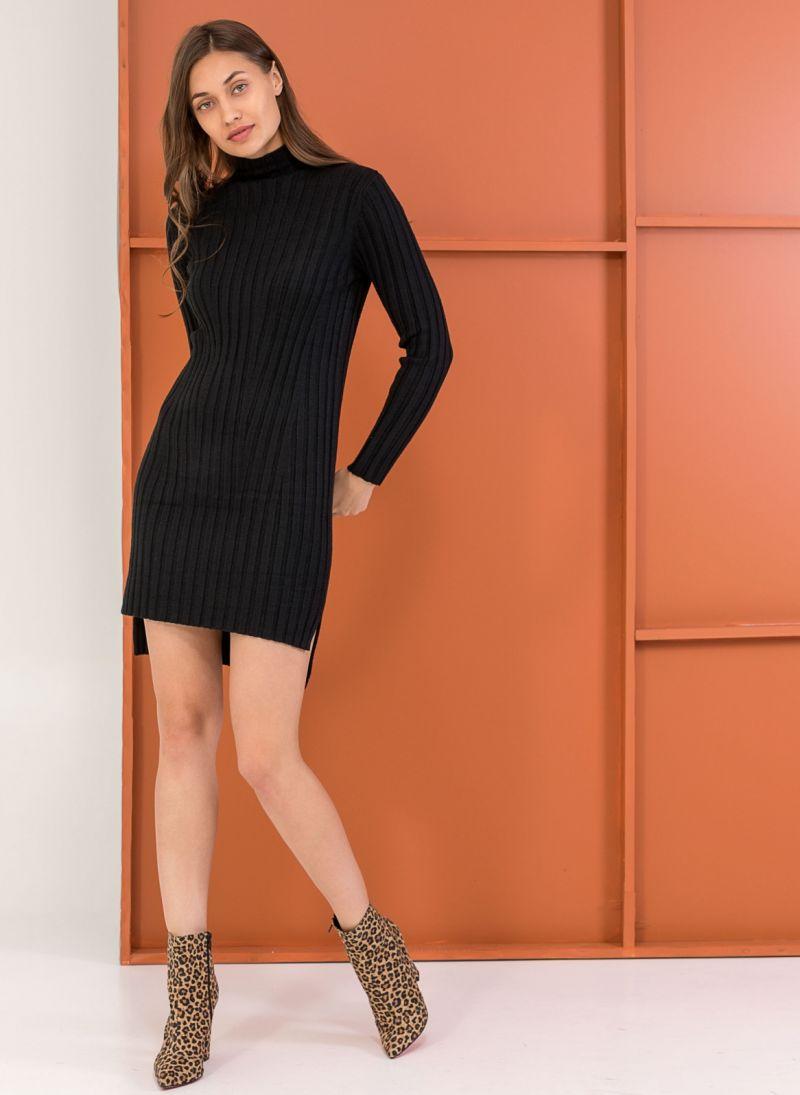 6a3f01a67a25 Ριπ φόρεμα σε εφαρμοστή γραμμή - Μαύρο - TheFashionProject