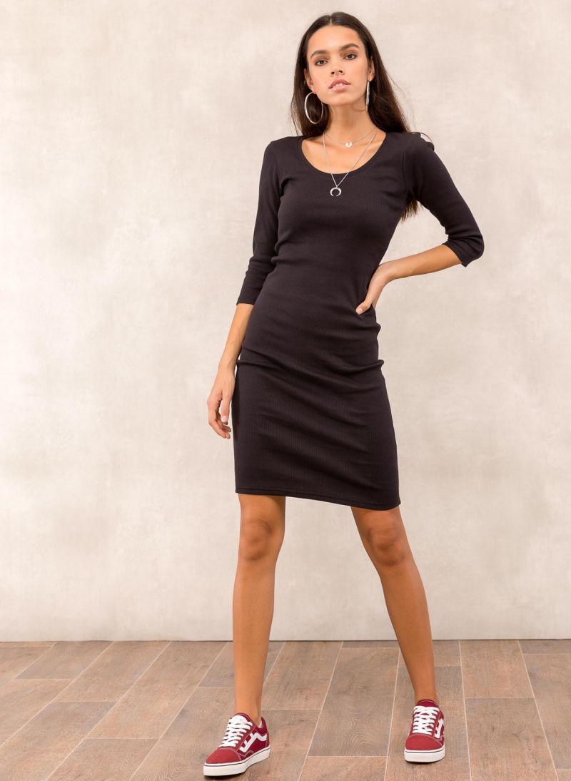 fe81215dd009 Ριπ midi φόρεμα - Μαύρο - TheFashionProject