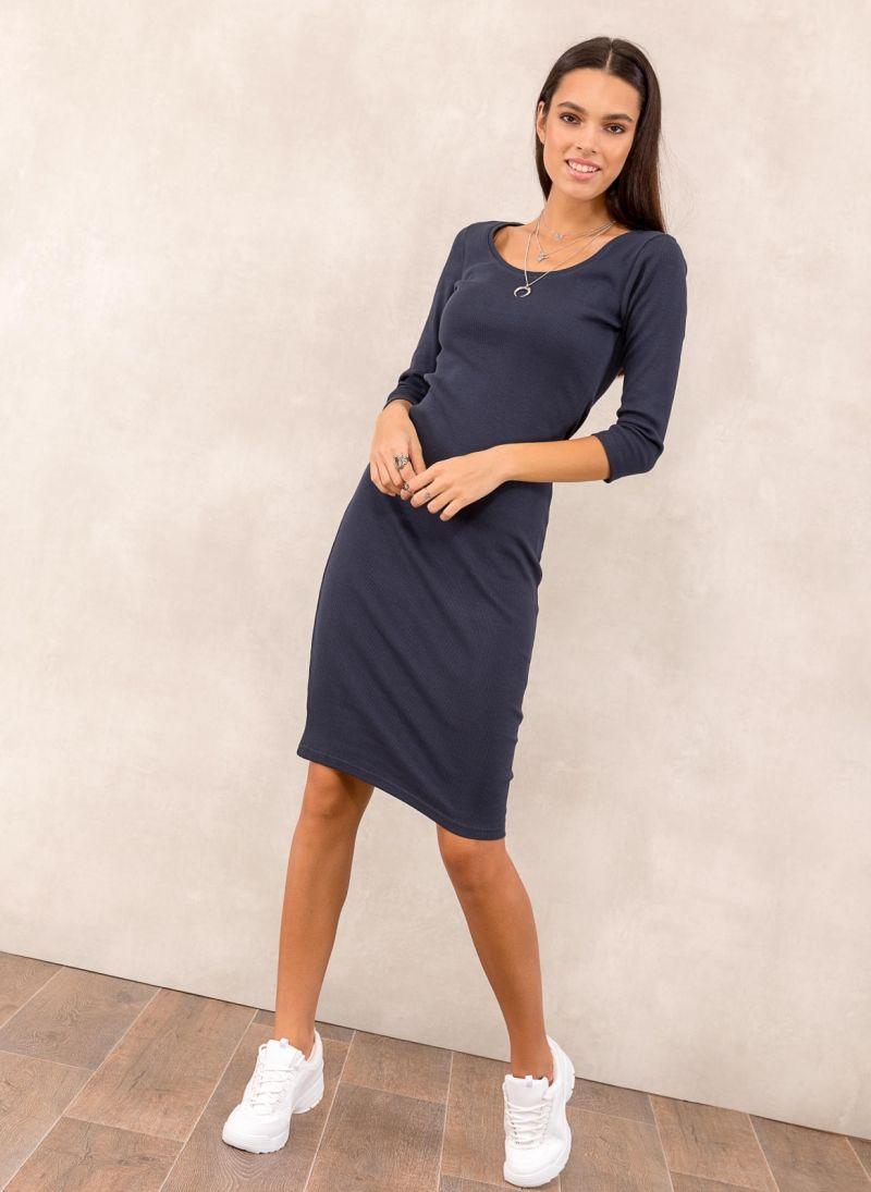 da7d3e4b8ed8 Ριπ midi φόρεμα - Μπλε σκούρο - TheFashionProject
