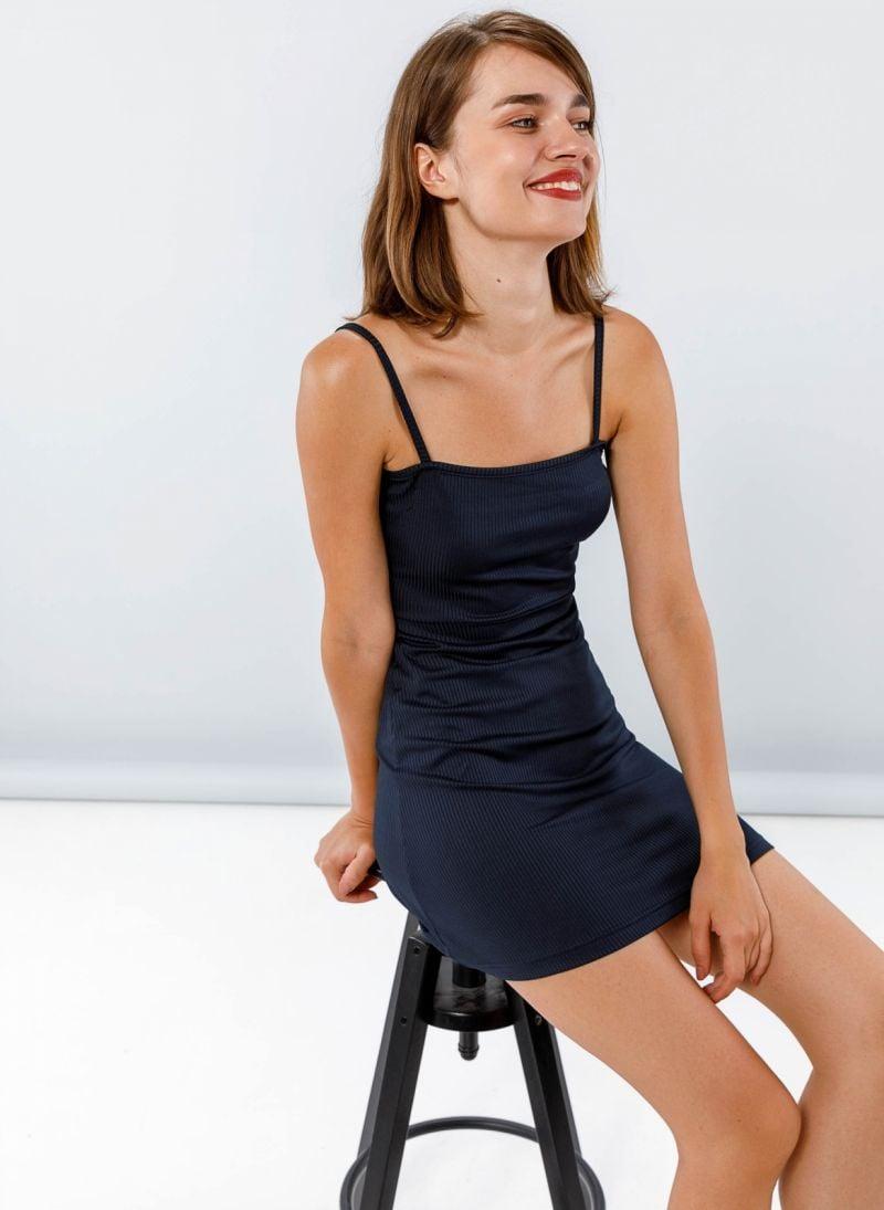 54939ed02d51 Ριπ mini φόρεμα με ραντάκι - Μπλε σκούρο - TheFashionProject