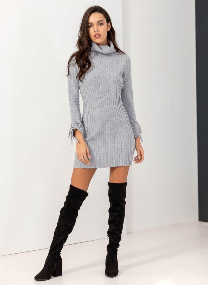 Ριπ πλεκτό εφαρμοστό φόρεμα με ζιβάγκο - Γκρι - TheFashionProject 5f6ff5f4fdb