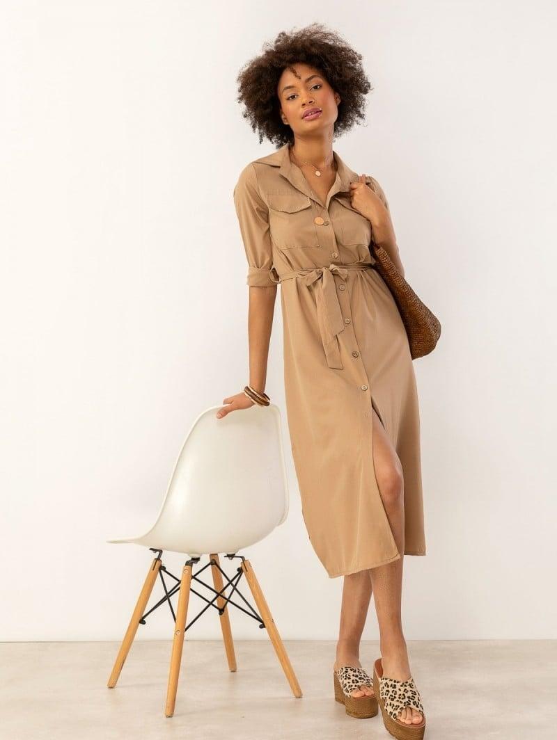 f542a8b7835c Σεμιζιέ φόρεμα με τσεπάκια - Μπεζ - TheFashionProject