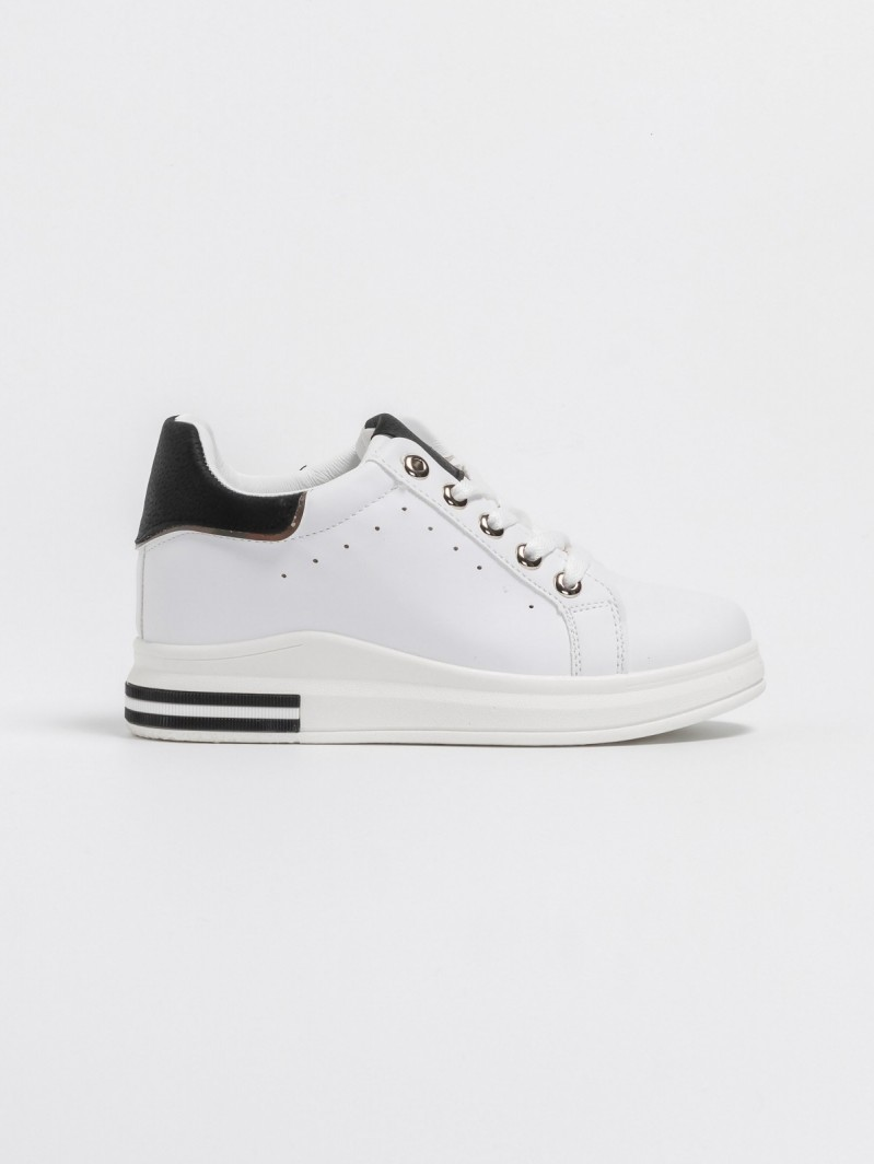 06575d31e14 Sneakers με εσωτερικό τακούνι - Λευκό/Μαύρο - TheFashionProject