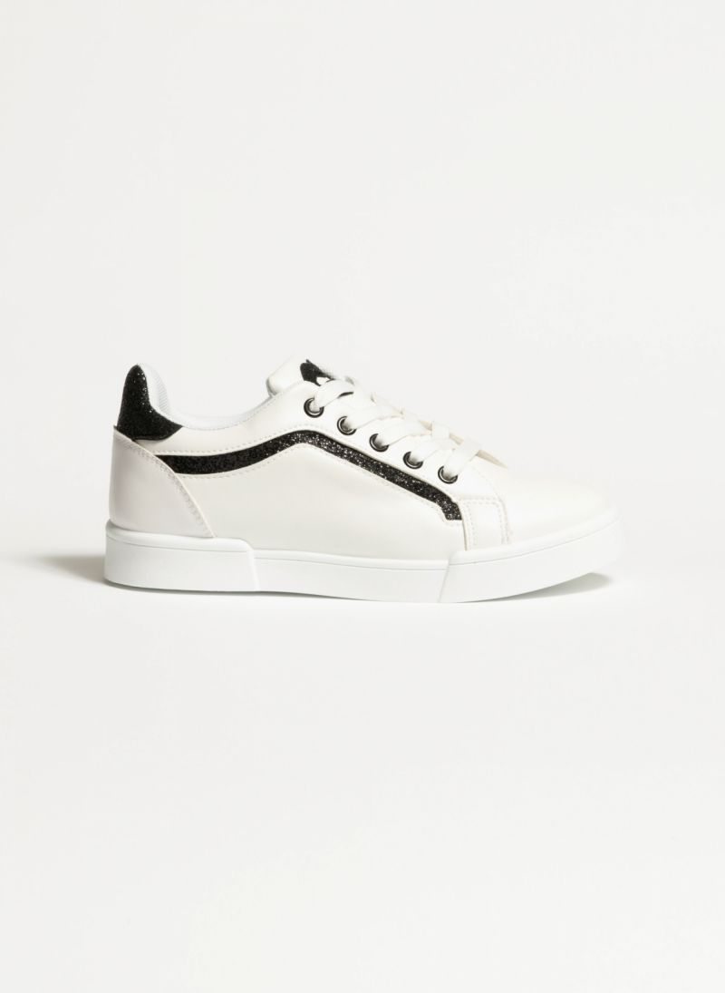 13ebf5fe334c Sneakers με glitter - Λευκό/Μαύρο - TheFashionProject