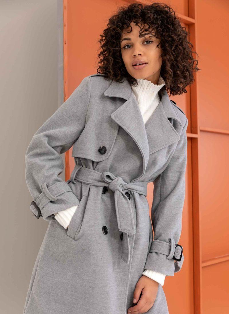 Σταυρωτό παλτό με ζώνη - Γκρι - TheFashionProject 06c12dd61ee