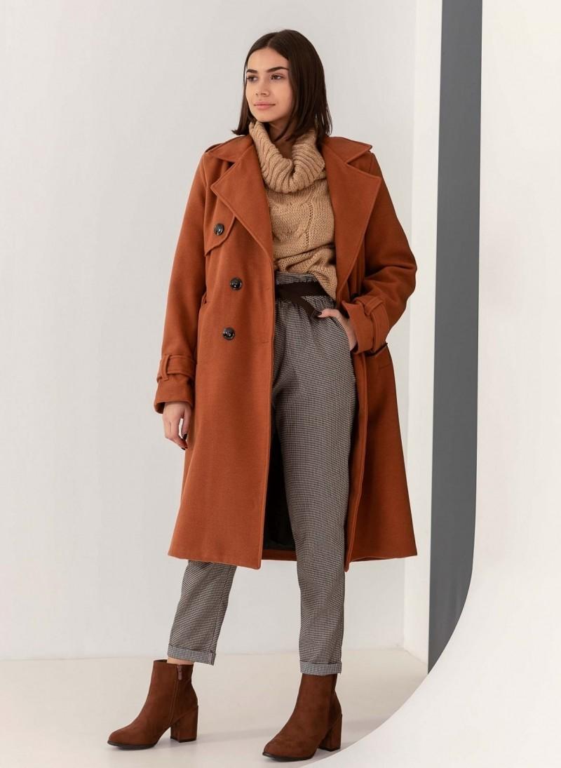 Σταυρωτό παλτό με ζώνη - Caramel - TheFashionProject ccdbe2effc8