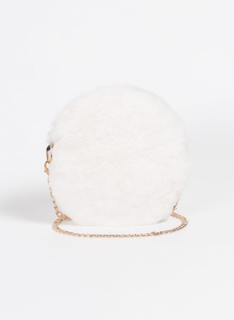 7499b73a15 Στρογγυλό γούνινο τσαντάκι με αλυσίδα - Λευκό - TheFashionProject