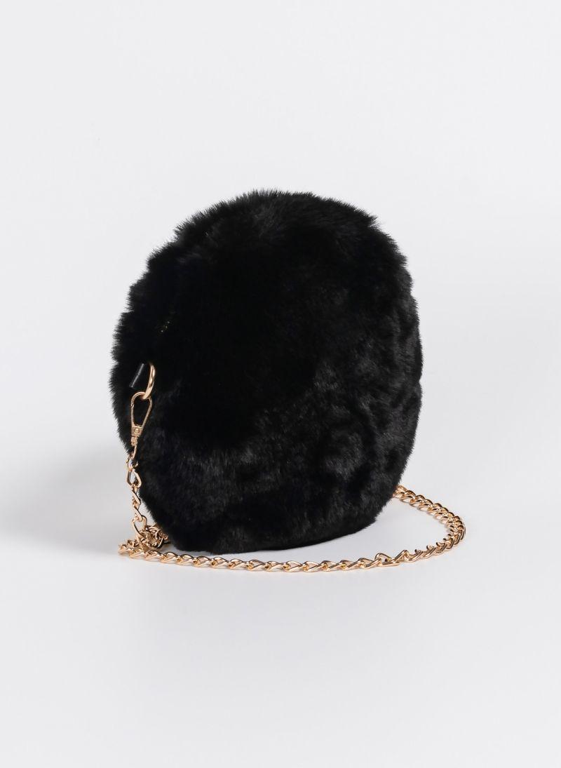 0290710538 Στρογγυλό γούνινο τσαντάκι με αλυσίδα - Μαύρο - TheFashionProject