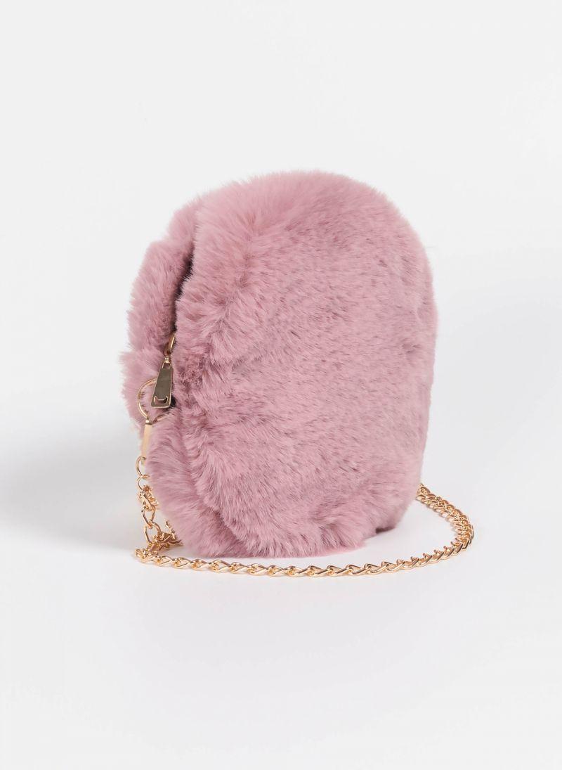 d7550a69e7 Στρογγυλό γούνινο τσαντάκι με αλυσίδα - Ροζ - TheFashionProject