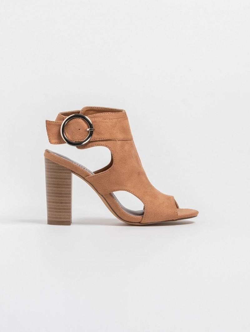 8d9ce1a38b Suede block heel πέδιλα με ανοίγματα στο πλάι - Κάμελ ...