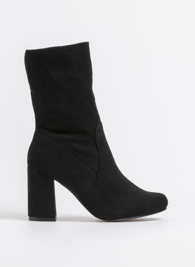 Suede μποτάκια με τακούνι - Μαύρο - TheFashionProject 1d35a51f55e