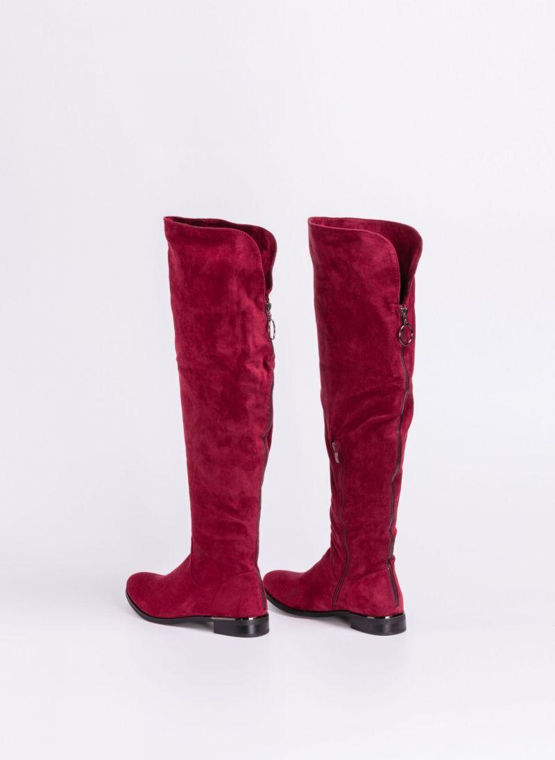 012454ea426 Suede μπότες πάνω από το γόνατο με διακοσμητικό φερμουάρ - Μπορντό ...