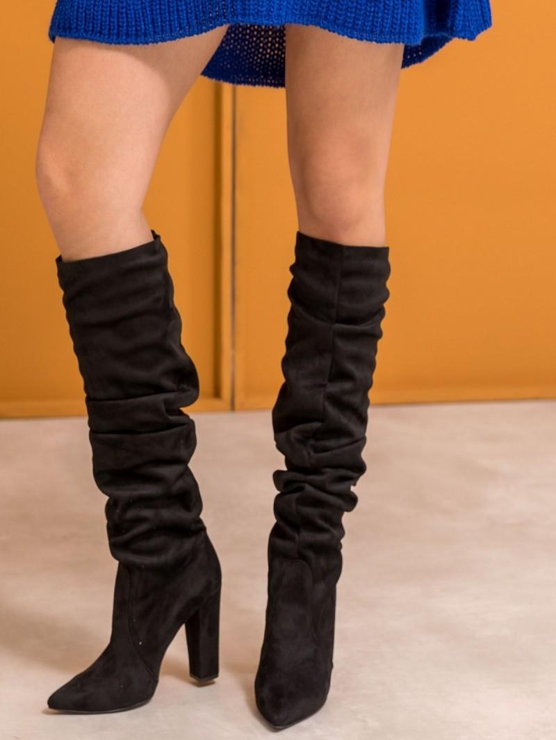 b02f38c8c64 Suede μυτερές block heel μπότες - Μαύρο