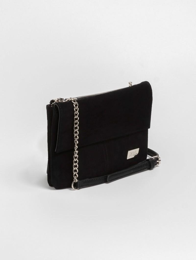 00b6324d68c Suede χιαστί τσάντα με αλυσίδα 86128 - Μαύρο