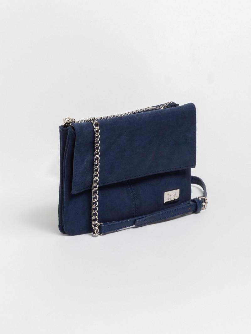 9e242e88b49 Suede χιαστί τσάντα με αλυσίδα 86128 - Μπλε σκούρο