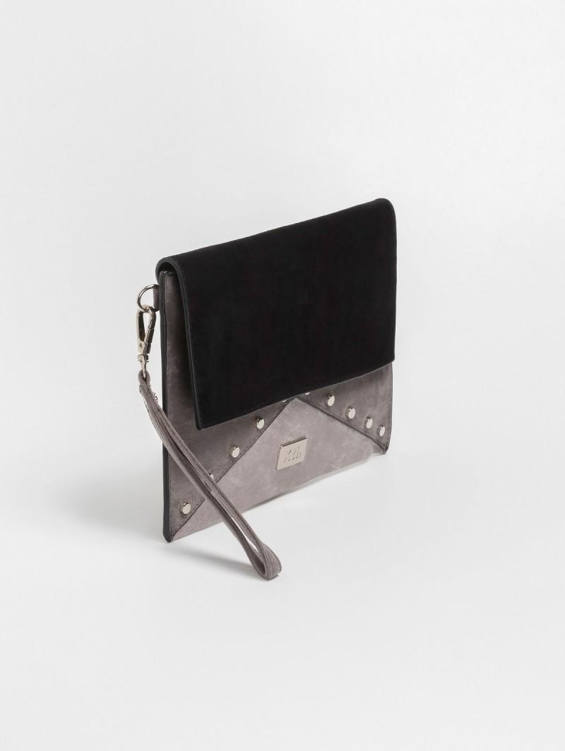 d4d4c2e424 Suede χιαστί τσάντα με τρουκς 86127 - Γκρι - TheFashionProject