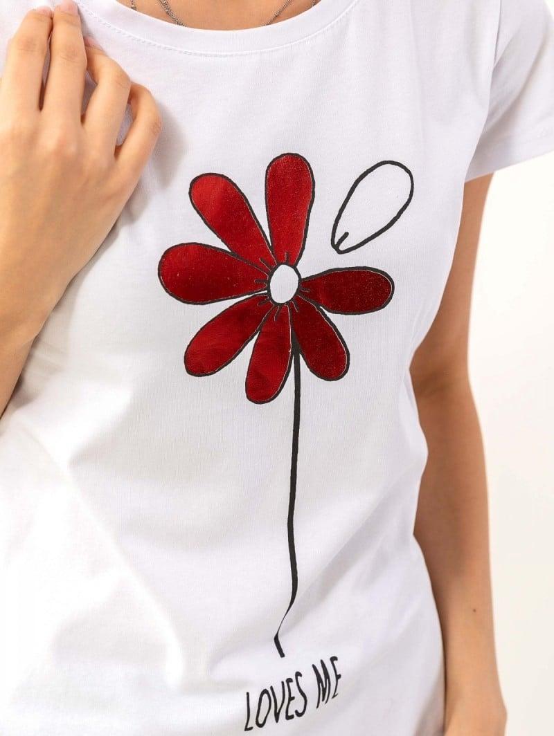 2f5eef05afdc T-shirt με γυαλιστερή στάμπα - Λευκό Κόκκινο - TheFashionProject
