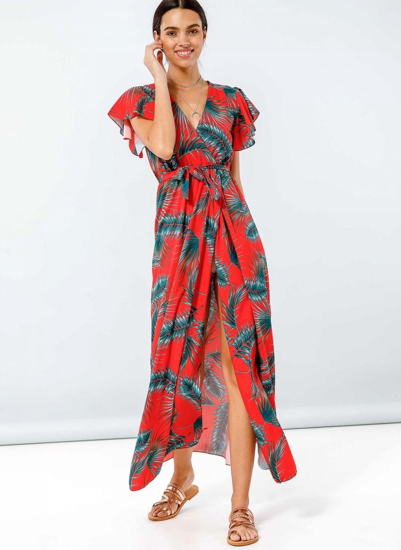 c1f586f91a7a Tropical maxi φόρεμα με βολάν στα μανίκια - Κόκκινο - TheFashionProject