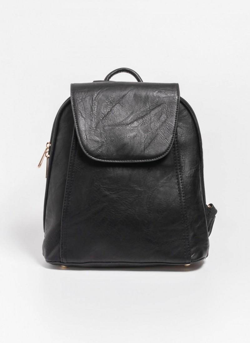 61c128d9d08 Τσάντα πλάτης με καπάκι - Μαύρο - TheFashionProject