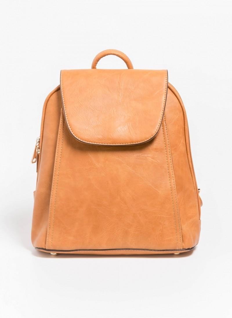 0c4fcc9a8b Τσάντα πλάτης με καπάκι - Μουσταρδί - TheFashionProject