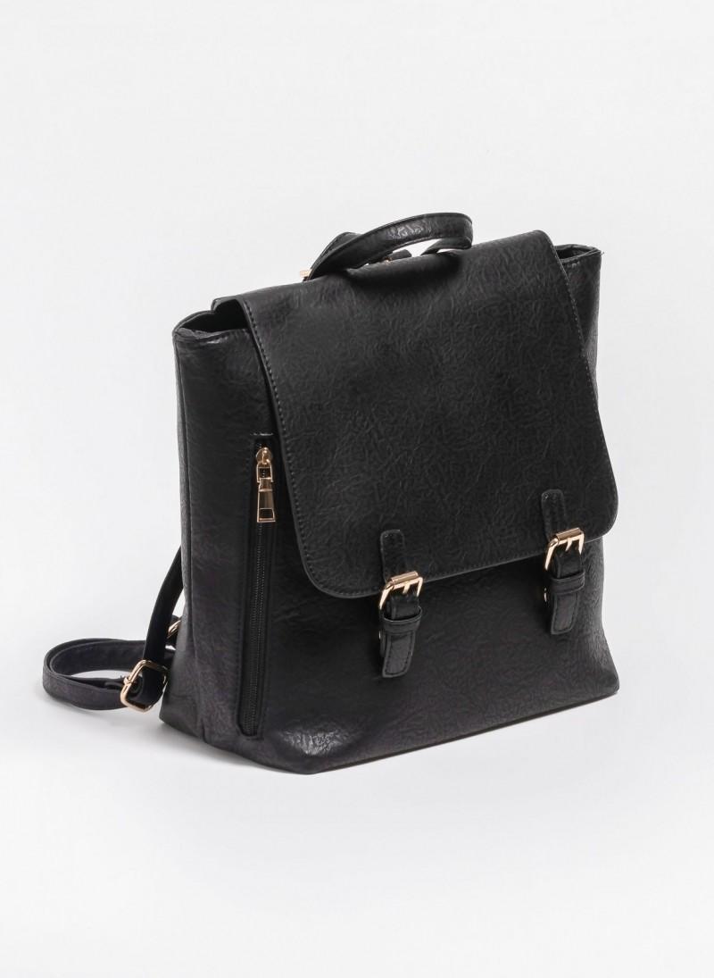 Τσάντα πλάτης με καπάκι και μεταλλικές λεπτομέρειες - Μαύρο ... 6565eddfb49