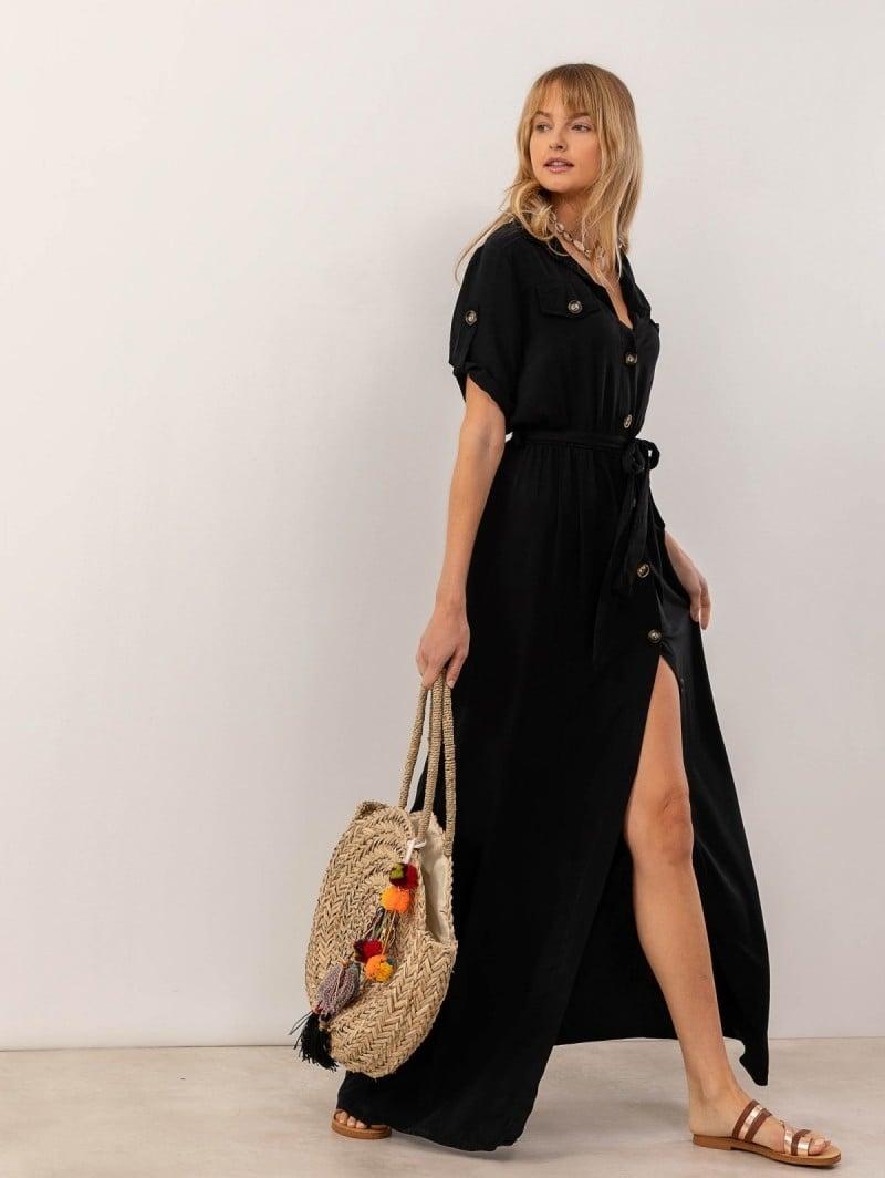 e7237e2cc480 Utility maxi φόρεμα με κουμπιά - Μαύρο - TheFashionProject