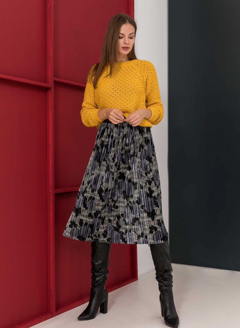 Βελουτέ πλισέ φούστα με λουλούδια - Μπλε - TheFashionProject 230ab362200