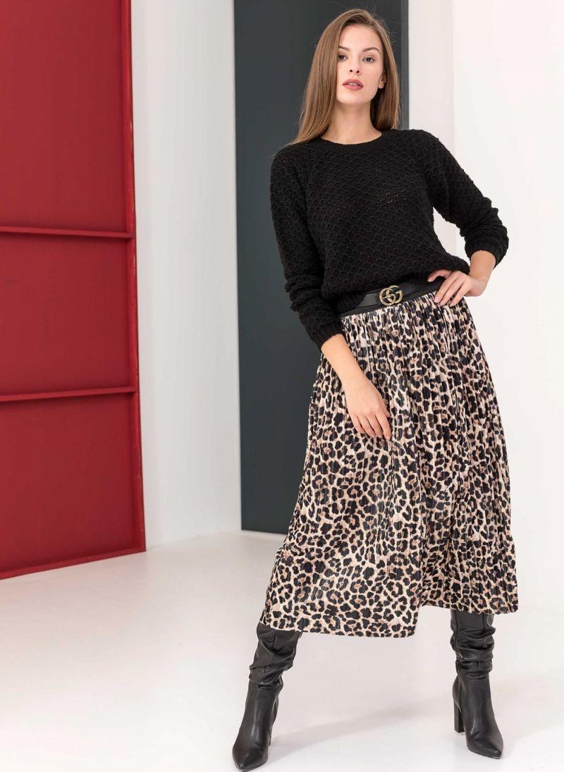 Βελουτέ πλισέ midi φούστα με animal print - Leopard - TheFashionProject 0b59b306e6b