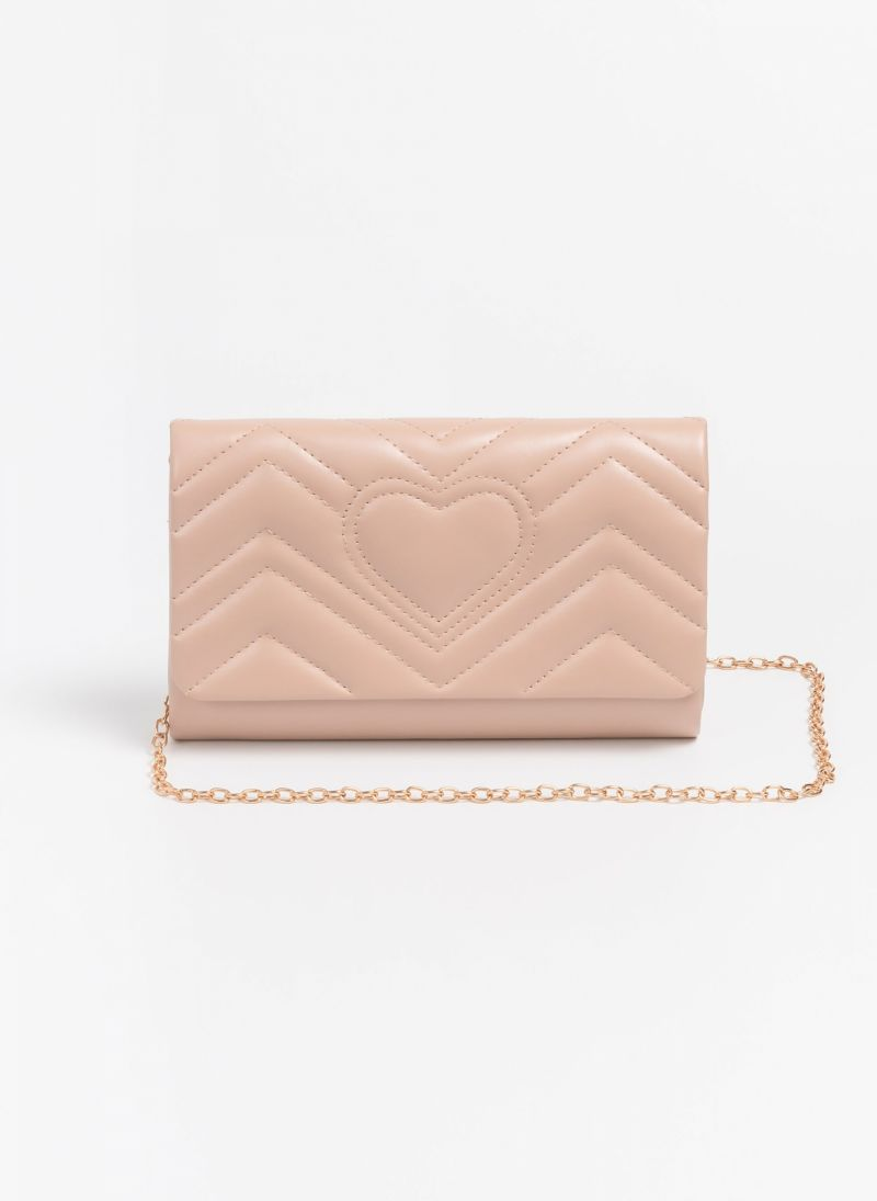 1166e7ee0d Βραδινή καπιτονέ τσάντα με σχέδιο καρδιά - Nude - TheFashionProject