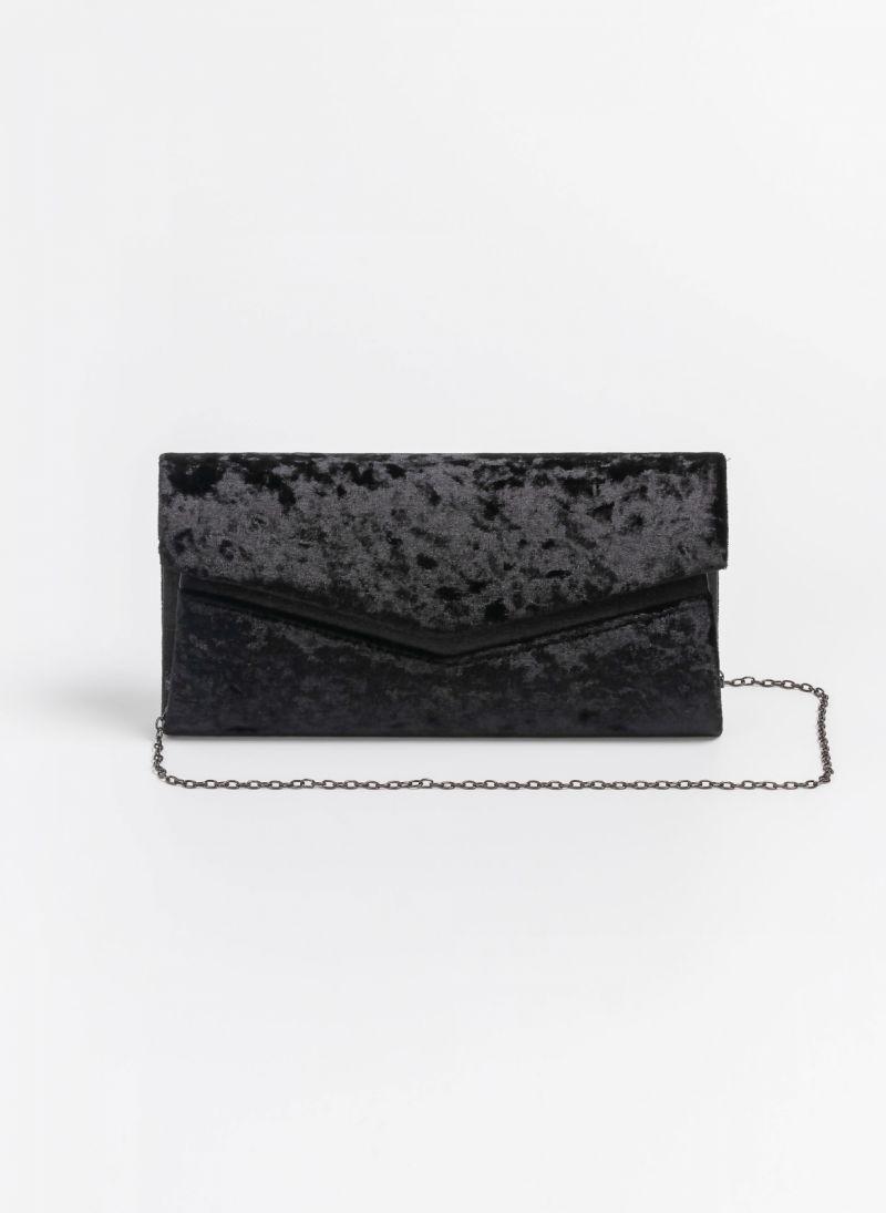 0cf2ee828e Βραδινός βελουτέ φάκελος με glitter λεπτομέρεια - Μαύρο ...