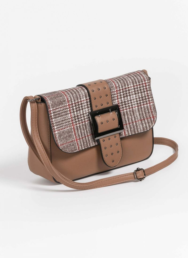 Χιαστί τσάντα με καρώ σχέδιο στο καπάκι - Πούρο - TheFashionProject f38100ca54e