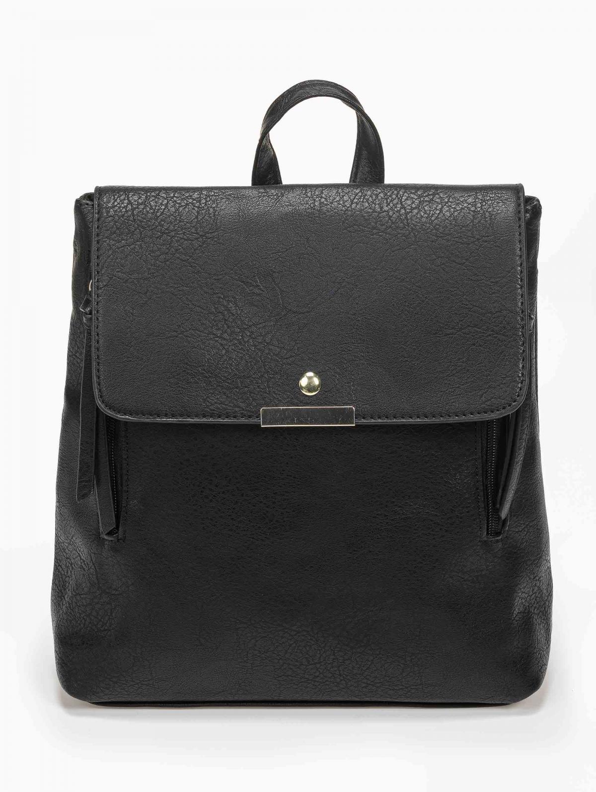 Τσάντα πλάτης με μεταλλική λεπτομέρεια - Μαύρο/Χρυσό